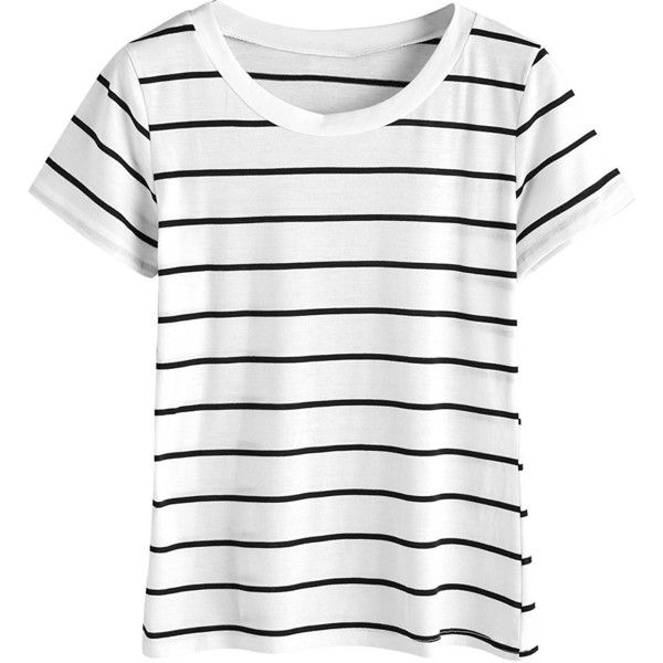 MakeMeChic Women's Casual Loose Striped Short Sleeve T-shirt Tee Top ($12) ❤ liked on Polyvore featuring tops, t-shirts, stripe t shirt, white short sleeve t shirt, short sleeve tee, loose t shirt and loose white t shirt