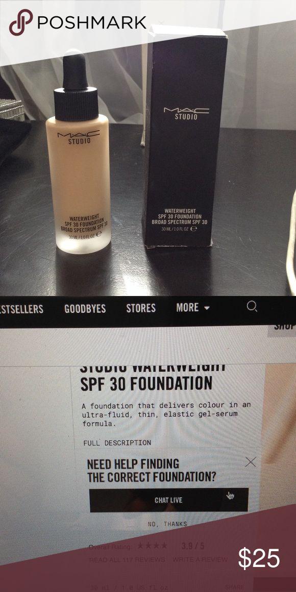 MAC Waterweight Foundation MAC STUDIO Waterweight SPF 30 foundation. Color NC30. Original box included MAC Cosmetics Makeup Foundation