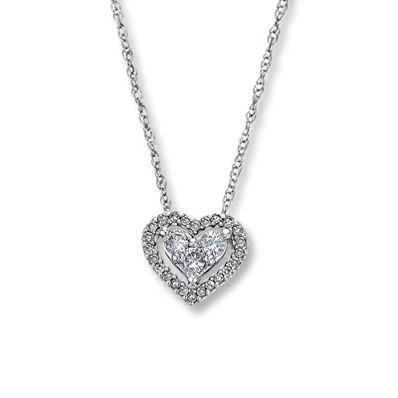 10K White Gold ¼ Carat t.w. Diamond Heart Necklace