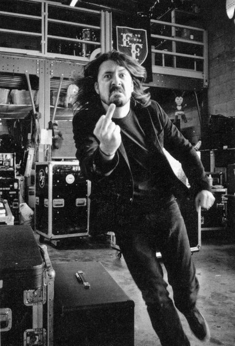 Dave Grohl giving middle finger