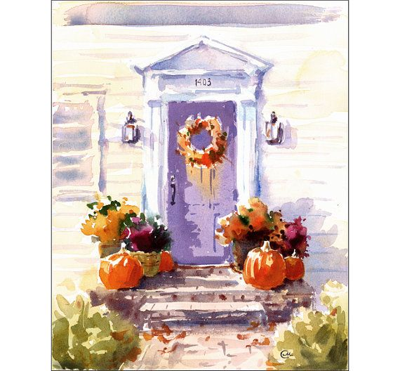 Happy Thanksgiving - Original Watercolor Painting Fall Decorations 8x10 inches