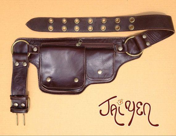 Leather Utility Belt Bag - The Hipster - Pocket Belt - Fanny Pack - Hip Bag - Steampunk Belt - Festival Belt - Iphone - Passport Holder