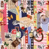 colorful musical notes & letter animal pattern fabric from Kokka Japan