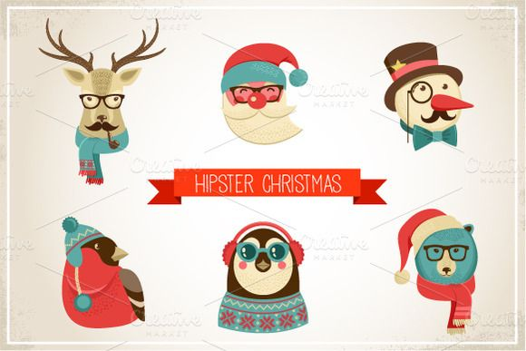 Vintage Hipster Christmas animals ~ Illustrations on Creative Market