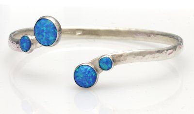 sterling silver adjustable bangle set with beautiful blue opals,Handmade in England, Handmade in the UK by Lavan Jewellery
