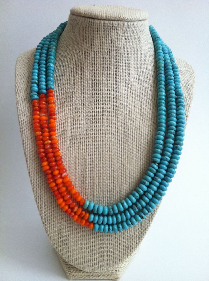 Turquoise and Orange Color Blocked Triple Strand Necklace