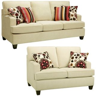 @Overstock.com - Austin Cream Sofa and Loveseat - The Austin cream sofa and loveseat are handcrafted using time-honored Old World techniques. This furniture features a premium fabric cover and a durable hardwood frame.  http://www.overstock.com/Home-Garden/Austin-Cream-Sofa-and-Loveseat/7516293/product.html?CID=214117 $2,447.99