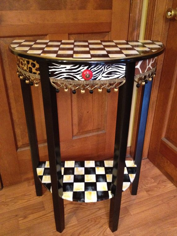 Hand Painted Half Moon Table by paintingbymichele on Etsy