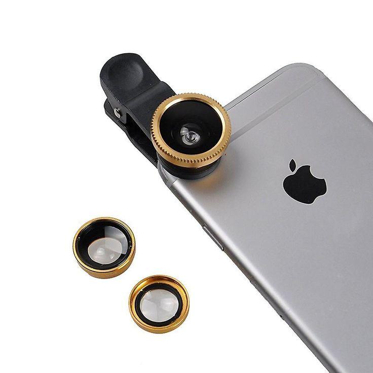 ONX3 Samsung Galaxy J5 (Gold) 3 in 1 Handy Kamera-Objektiv-Kit Fisheye-Objektiv + breites Weitwinkel-Objektiv Makro-Objektiv mit Universal Clip-on 180 Grad für beide Android und iOS Geräte