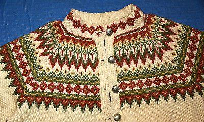 GORGEOUS Vintage Women's Hand Made Wool Norwegian Cardigan Sweater Made n Norway