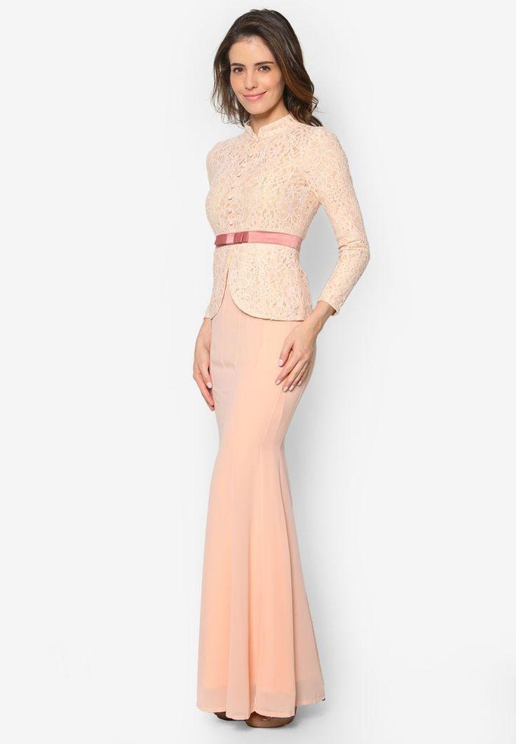 Baju Kebaya Lace with Bow Detail - Vercato Safira from VERCATO in pink_2
