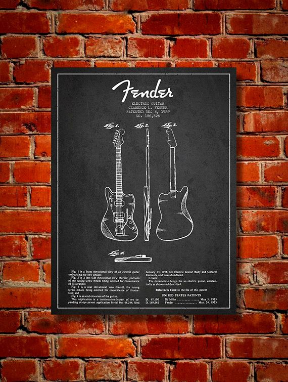 1959 Fender Electric Guitar Patent Canvas Print by PatentsWallArt
