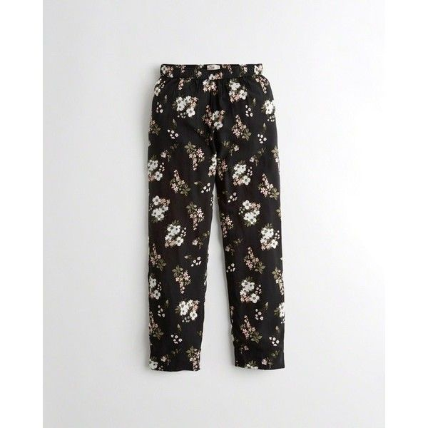 Hollister Tapered Rayon Ankle Pants ($40) ❤ liked on Polyvore featuring pants, black floral, ankle pants, tapered trousers, floral printed pants, floral pants and ankle length pants