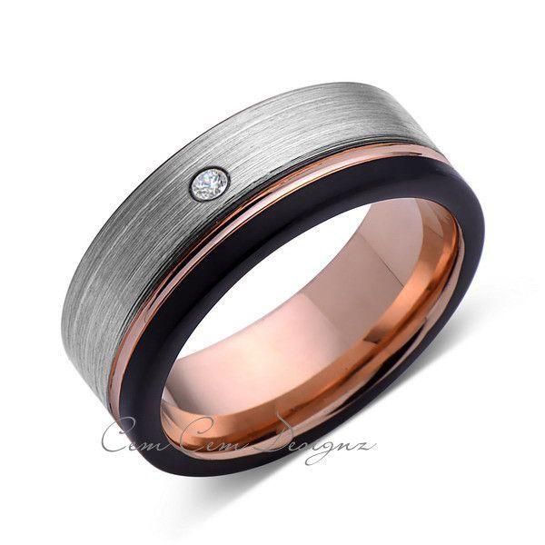 8mm Mens Diamond Gray Black Brushed Rose Gold Tungsten Ring Rose Gold Wedding Band Comfort Fit Tungsten Wedding Bands Tungsten Mens Rings Tungsten Carbide Wedding Bands