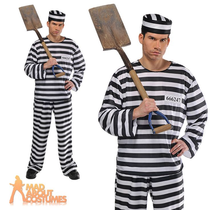 Mens Jailbird Convict Costume Adult Prisoner Fancy Dress Stag Do Party Outfit
