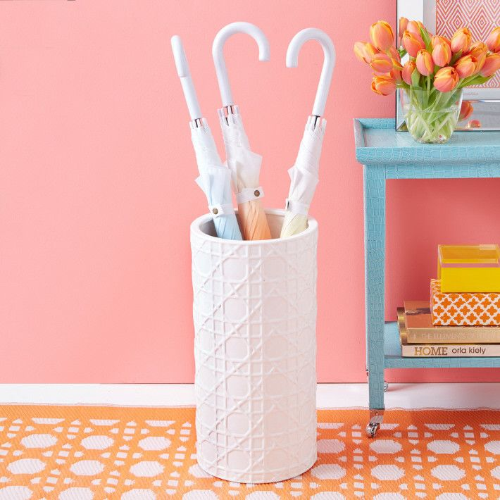 Empty or full, this ceramic umbrella stand by Two's Company will looks gorgeous in your home. The classic lattice design comes together in this great accent piece for the entry foyer or living room. http://www.zocko.com/z/JErfr