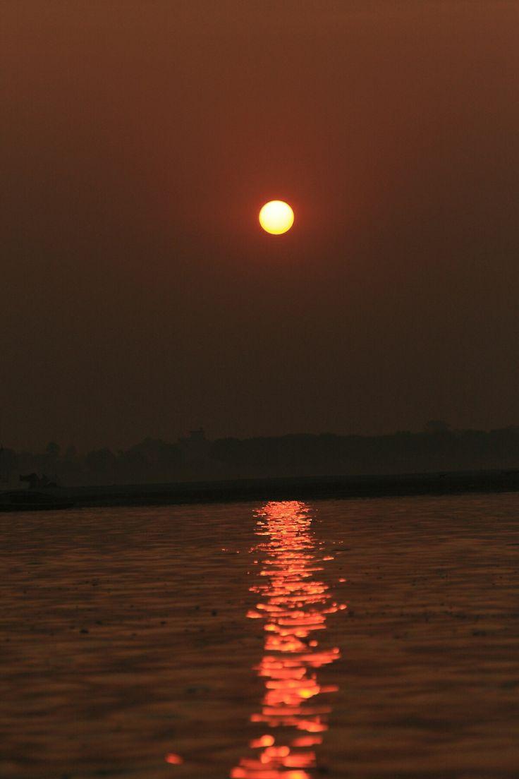 a beautiful Sunrise at Varanasi, India.  #varanasi, #india, #ganga, #sunrise, #reflection, #incredibleindia, #ghats