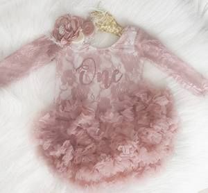 Kryssi Kouture First Birthday Dusty Rose Long Sleeve Lace Leo Sets with Rose Gold One 5