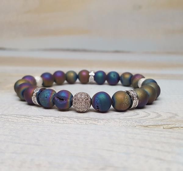 Rainbow Electroplated Agate Pave