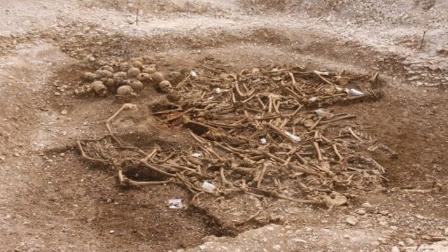 While digging a railroad in Dorset workers came across a small contingent of viking warriors buried in the ground, all missing their heads.  Archeologists are unsure why.