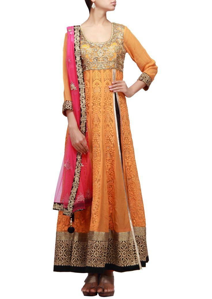 Orange anarkali suit with side slit embellished in resham and zari