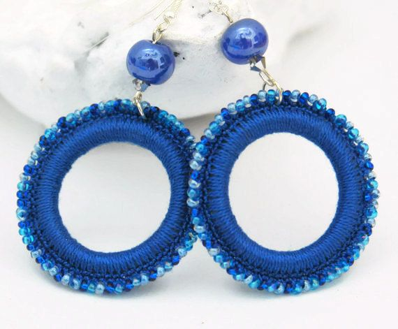 Crochet and beaded hoop earrings - Crochet jewelry - Big earrings - Blue…