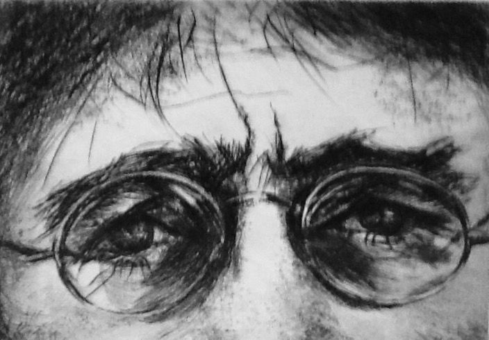 John Lennon Dry point etching Jean Weir