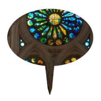 Church Cathedral Christ Wall Stained Glass Deco 99 Cake Topper