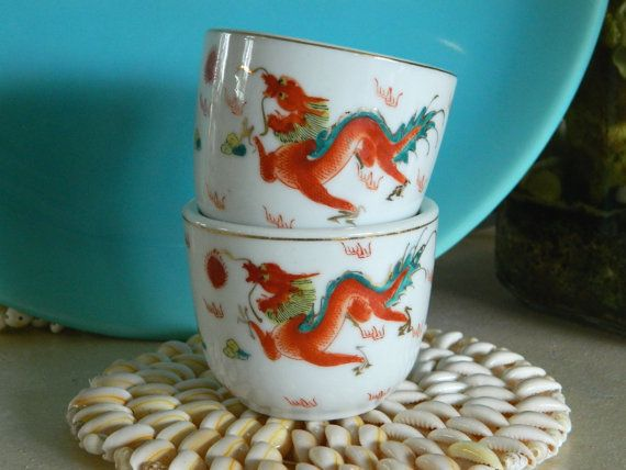 Red Dragon Asian Teacups Set of Two Vintage by MaiAloha on Etsy, $16.00