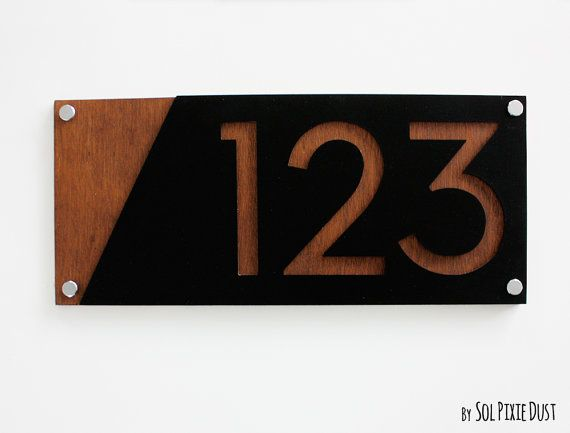 Modern House Numbers, Acrylic with Marine Plywood - Contemporary Home Address - Sign Plaque - Door Number