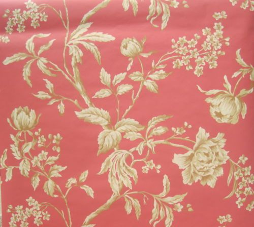 York Beige and Tan Flowers on Deep Pink Rose Wallpaper Double Roll | eBay