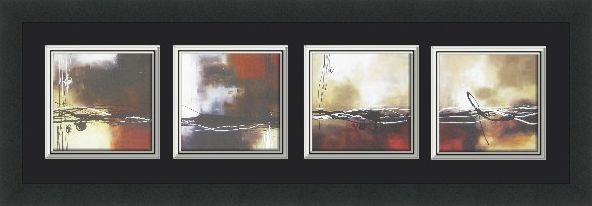 This beautiful 4 panel custom designed abstract piece features 4 prints from Laurie Maitland. It incorporates Non-Glare glass and triple matting.