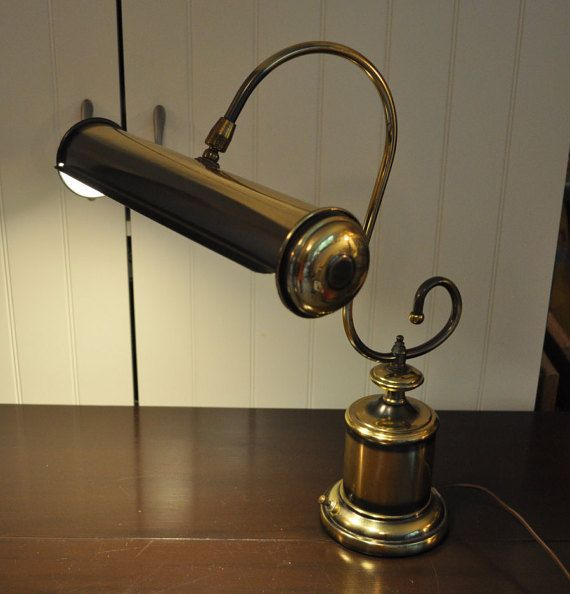 Brass Underwriters Laboratories Desk Piano Lamp