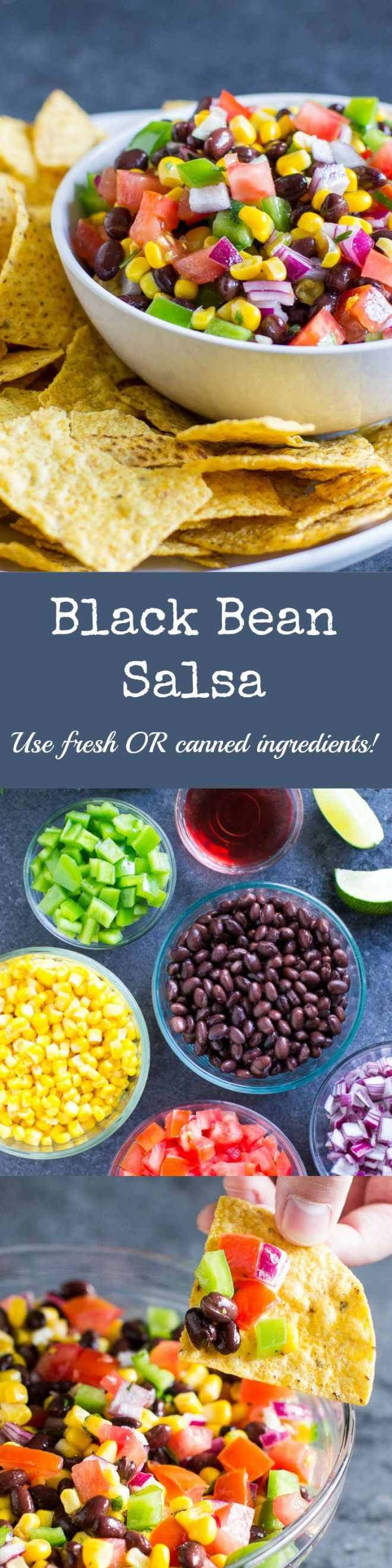 Whip up a giant batch of Black Bean Salsa in minutes! It's fresh and delicious, perfect for parties, so easy to make, and addictive!