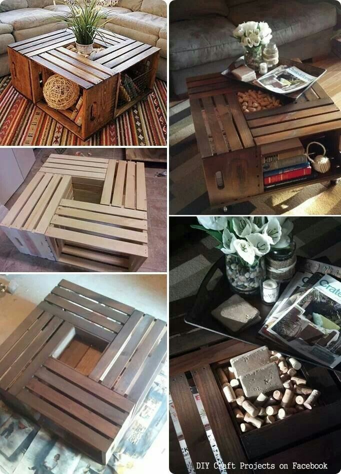 Wooden crate coffee table. We could totally make this. - 25+ Best Ideas About Homemade Coffee Tables On Pinterest