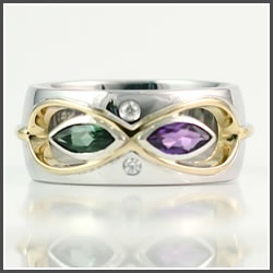 """Custom Birthstone Bfinity Ring- """"Promise Ring"""" utilizing the #birthstones for the couple that this was designed for."""