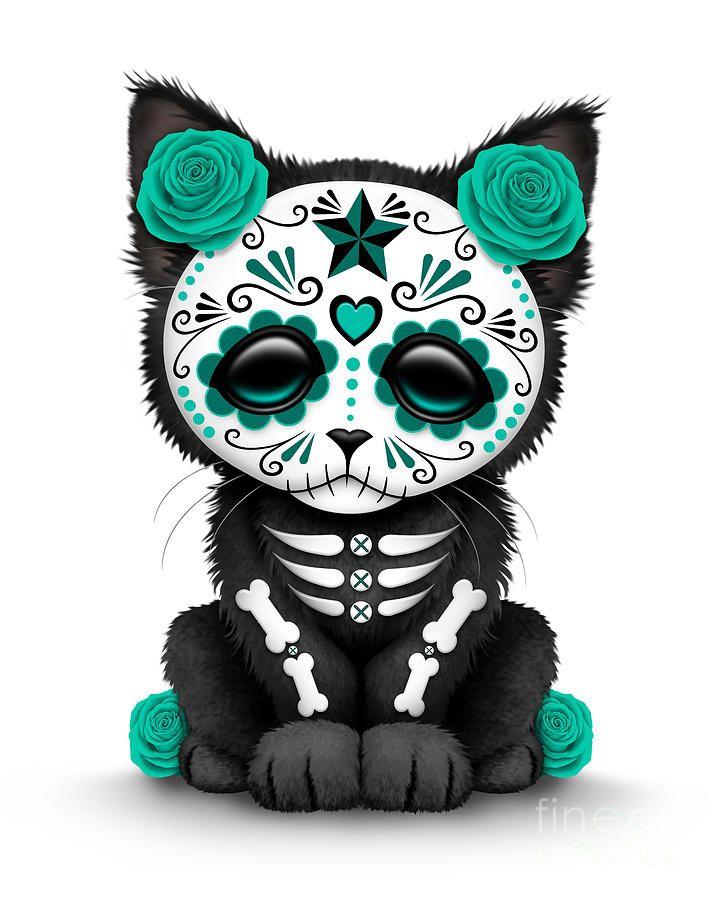 jeff bartel art   Cute Teal Blue Day Of The Dead Kitten Cat by Jeff Bartels