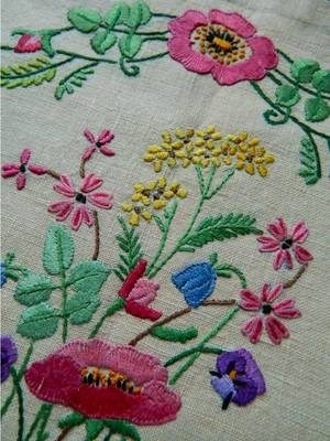 Vintage Hand Embroidered Linen tea Cosy Cover - POPPIES & ROSES - unused | eBay