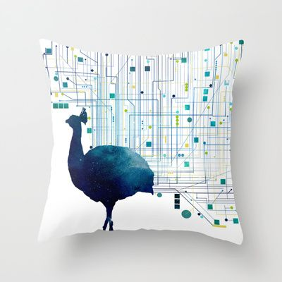 CYBER PEACOCK Throw Pillow by ARCHIGRAF - $20.00