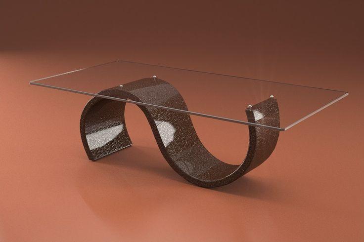 Articolo 416-15     Tavolino da salotto Crono - Finitura: marrone con brillantini argento.Misure: cm 110 x 65  - Altezza: cm 38 - Peso: Kg. 42 - Vetro: rettangolare -  temperato - extrawhite - filo lucido - spessore 1 cm