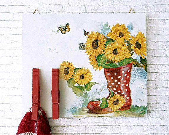 Sunflower Decor  Bulletin Board  Kitchen Towel Holder