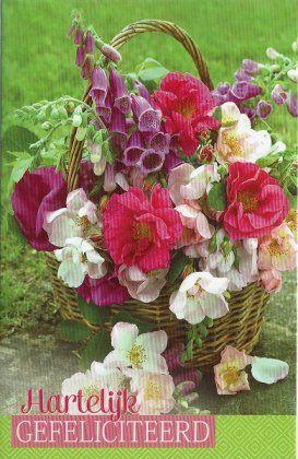 Hartelijk gefeliciteerd kaartje met bloemen