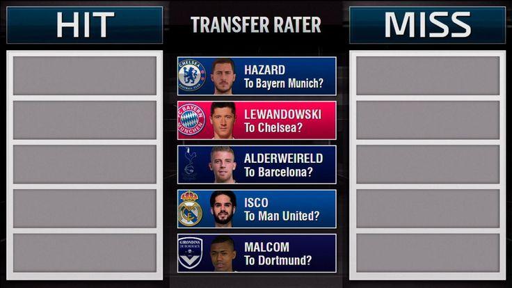 Transfer Rater: Hazard to Bayern, Lewandowski to Chelsea and Isco to United?