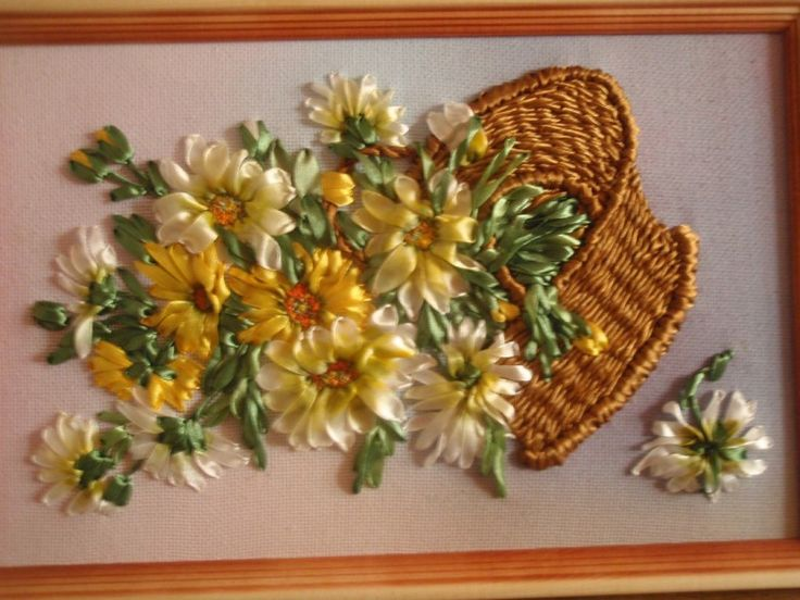 Sunflowers in a basket ribbonembroidery broderies ruban