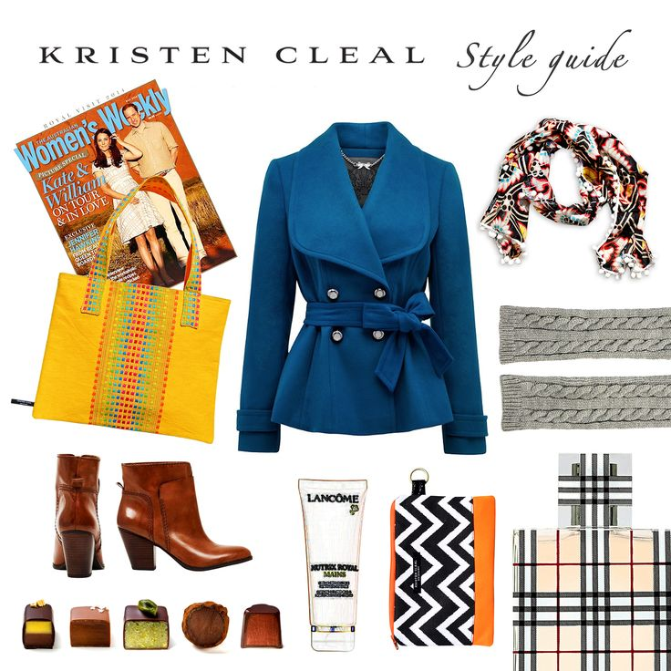 STYLE GUIDE >>>  Shhh… Mums the word! Spicy colours to warm & brighten Mums wardrobe! Bohemian Scarf, Kristen Cleal $40. Barbados Yellow Tote, Kristen Cleal $40. Chevron Cosmetic Bag, Kristen Cleal $25. Hollyday Ankle Boot, Nine West $179.95. Ellie Fit Flare Coat, Forever New $119.99. Cable Cuff, ASOS $19.56. Burberry Brit perfume, Perfume Connection $89.95. Nutrix Hand Cream, Lancôme $62. Koko Black Chocolate. The Australian Women's Weekly Magazine (Royal Edition) $6.95.