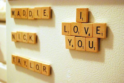 Scrabble tile fridge magnets--adorable!: Scrabble Magnets, Fridge Magnets, Scrabble Tile Crafts, Magnets Boards, Cute Ideas, Scrabble Tiles, Tile Fridge, Garage Sales, Scrabble Letters
