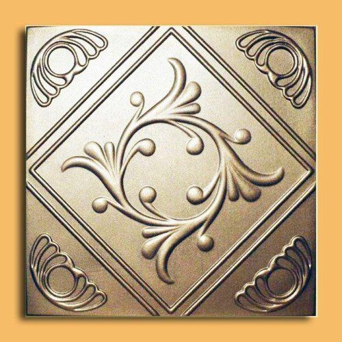 """Anet Gold (20""""x20"""" Foam) Ceiling Tile by Antique Ceilings. $3.00. Can be painted with most any water or latex based paints. Made from high quality Polystyrene foam. Can be installed right over Pop Corn ceiling. Easy to install - with most any Mastic ceramic tile adhesive. Tin like look from a modern material. The ceiling tiles and panels are made of uniform extruded polystyrene foam. With this technology, it is possible to obtain smooth and even surface. They will give your ce..."""