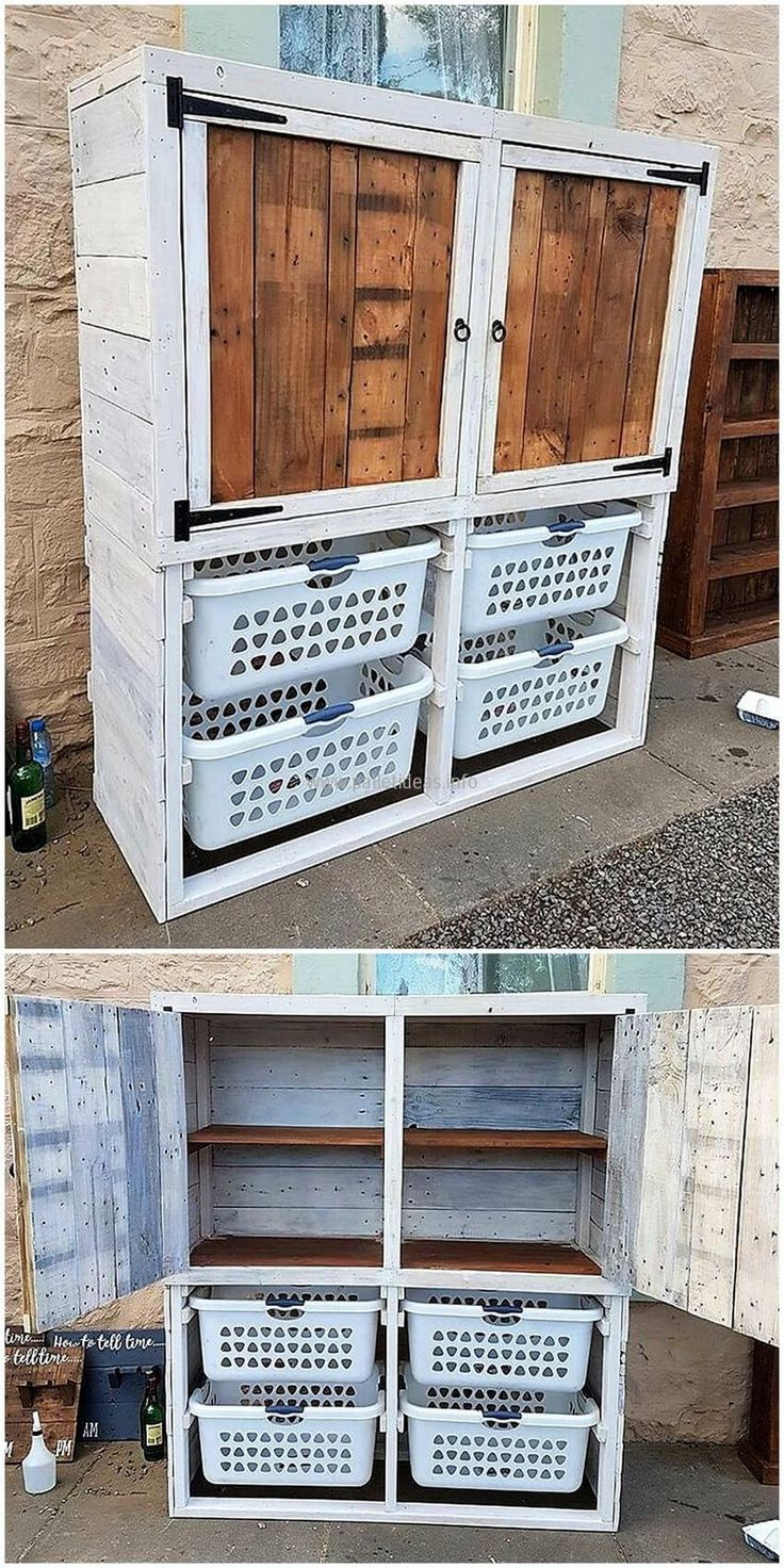 We are going to show an idea first that keeps the mess away, see the laundry cupboard and it is great to store the clothes that are dirty. The washed clothes can also be stored in it and it is up to the homeowner which he/she likes to place in it.