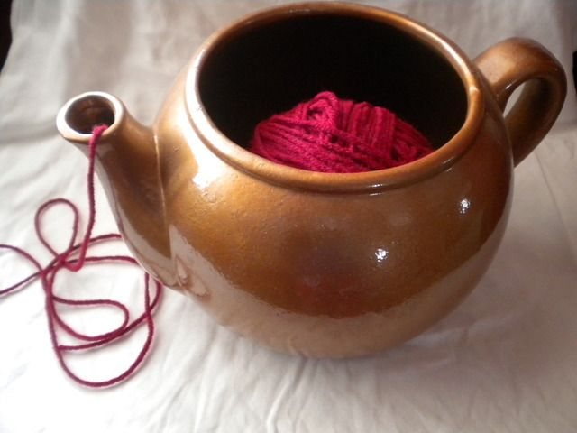 Who needs a fancy yarn bowl when a cute teapot will do?  Just grab a teapot from your local Goodwill store and get ready to store some yarn in style!
