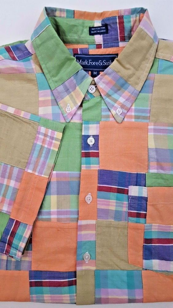 MARK Fore STRIKE Authentic INDIAN Madras SHIRT Medium MULTICOLOR Check PASTEL Sz #MarkForeStrike #ButtonFront